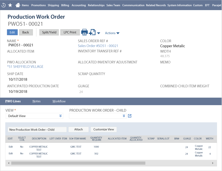 Roll Management NetSuite Screen