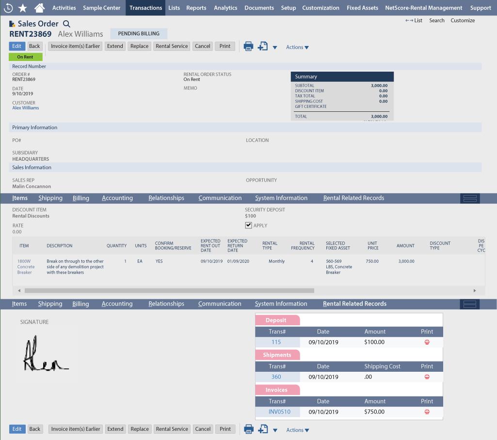 NetSuite Rental Management Screen